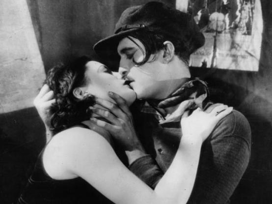 Garbo kissing in THE KISS 1929