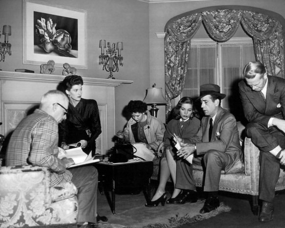 Director and stars on the set of The Big Sleep