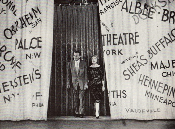 AS Burns & Allen take their last bow the curtains are decorated with the names of all the vaudeville theaters they played.
