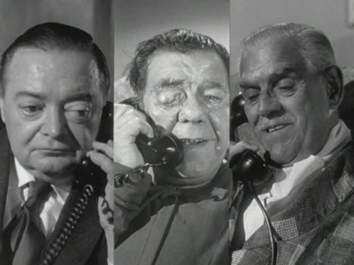 Chaney (center) on the phone with horror legends Lorre and Karloff in an episode of Route 66
