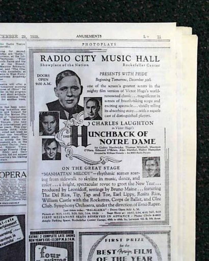 The ad announcing the film's New York premiere at Radio City Music Hall as it appeared in The New York Times, page 11