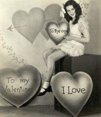 Woman Posing as Little Valentine Girl