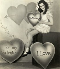 Woman Posing as Little Valentine Girl