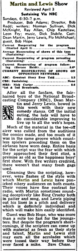 Billboard's review of the Martin and Lewis radio show premiere on April 3, 1949. (April 30, 1949)