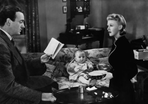 David Niven with Ginger Rogers and baby in Bachelor Mother (1939)