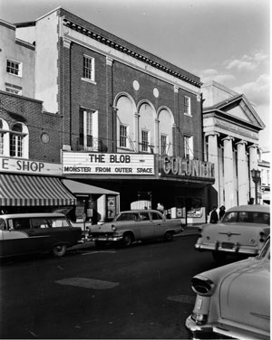 The marquee at the Colonial Theater featured in The Blob and featuring The Blob in 1958