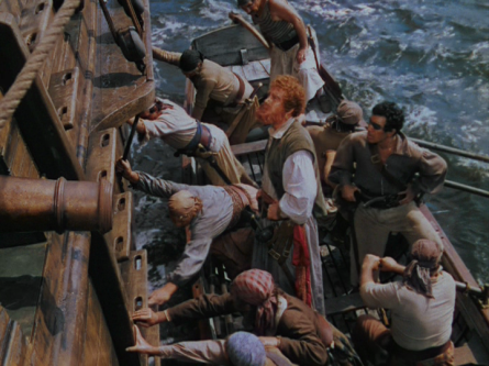 Leech and his band of pirates approaching Jamie's ship