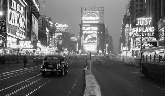 Times Square Illuminated by Large Neon Advertising Signs
