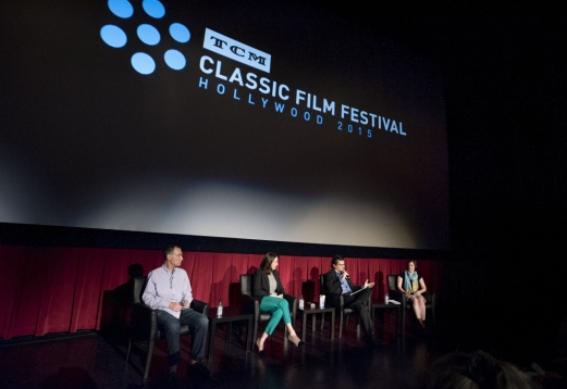 Charlie Tabesh, SVP of Programming of TCM, Jennifer Dorian, General Manager of TCM, Ben Mankiewicz, TCM Host, and Genevieve McGillicuddy, Managing Director, on Wednesday during the press conference at the 2015 TCM Classic Film Festival In Hollywood, California. 3/25/15 PH: Edward T. PioRoda Photographer: Edward T. PioRoda TM & © 2015 Turner Classic Movies.