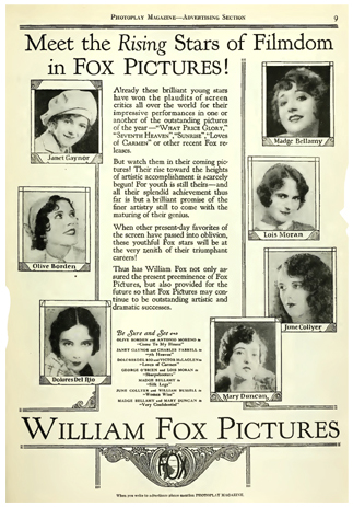 The rising stars of Fox Pictures in 1927