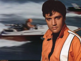 A barely wet Elvis during the green-screened boat race
