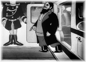 Lionel in Rasputin costume exiting a limo