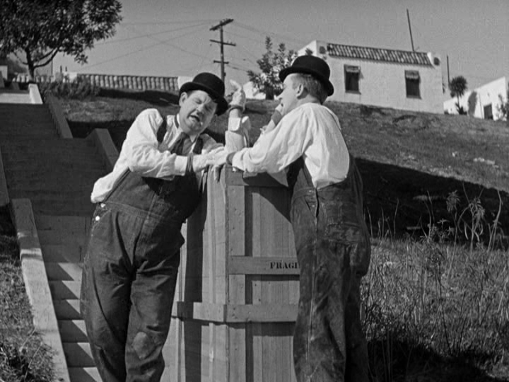Laurel, Hardy and the Biggest Stoop You've Ever Seen in Your Life