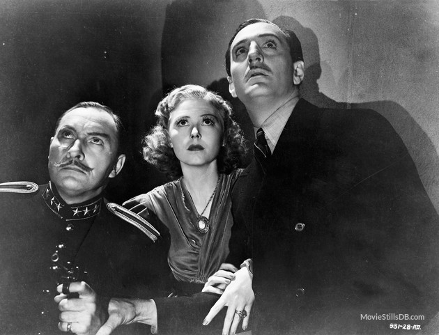 Publicity still of Lionel Atwill, Josephine Hutchinson and Basil Rathbone