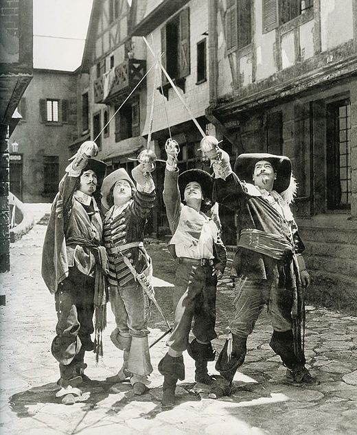 Léon Bary, Eugene Pallette, Douglas Fairbanks and George Siegmann in The Three Musketeers