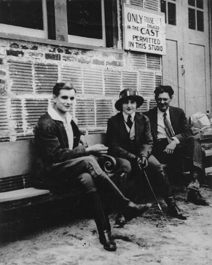 Creighton Hale, Pearl White, and Lionel Barrymore outside the Wharton studio in 1915.