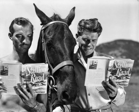 Zachary Scott and Ronald Reagan in Stallion Road 1947