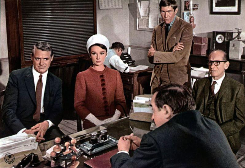 Grant, Hepburn, Coburn (standing), Glass and