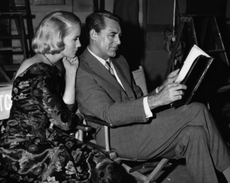 Eva Marie and Cary on set North By Northwest