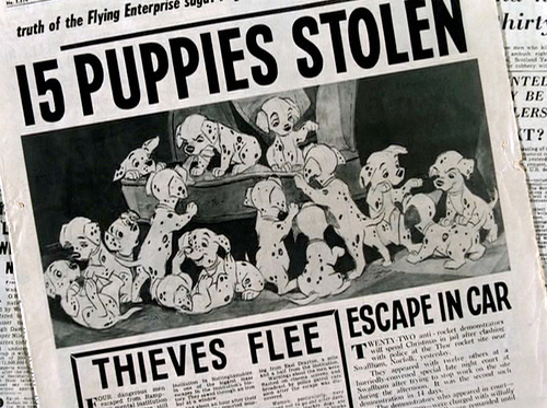 """The Walt Disney animated movie """"101 Dalmatians"""" (alternatively: One Hundred and One Dalmatians), directed by Clyde Geronimi, Hamilton Luske and Wolfgang Reitherman. Story by Bill Peet based on a novel by Dodie Smith.  Seen here, newspaper headline, '15 Puppies Stolen'.  Initial theatrical release January 25, 1961.  Screen capture. © 1960 Walt Disney Productions. Credit: © 1960 Disney / Flickr / Courtesy Pikturz.   Image intended only for use to help promote the film, in an editorial, non-commercial context."""