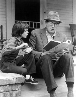 Gregory Peck reading to Mary Badham during To Kill a Mockingbird shoot