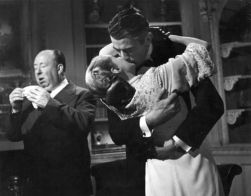 Hitch sneezes while Bergman and Peck kiss in Spellbound