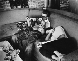 James Dean reads while Elizabeth Taylor naps