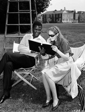 Sidney Poitier and Elizabeth Hartman on set of A Patch of Blue 1965