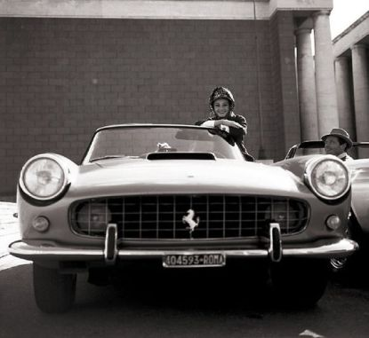 Audrey Hepburn and her Ferrari