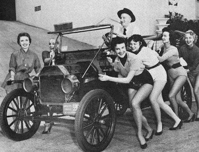 Jimmy Durante and his all-girl pit crew
