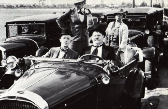 Laurel and Hardy in a 1930 Buick