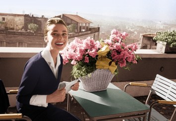 Audrey on the terrace of a Roman hotel