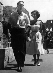 Elizabeth Taylor in Rome on her honeymoon with first husband Nicky Hilton.