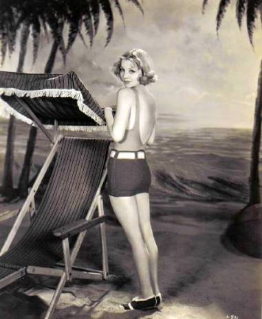 Alice White on a beach set