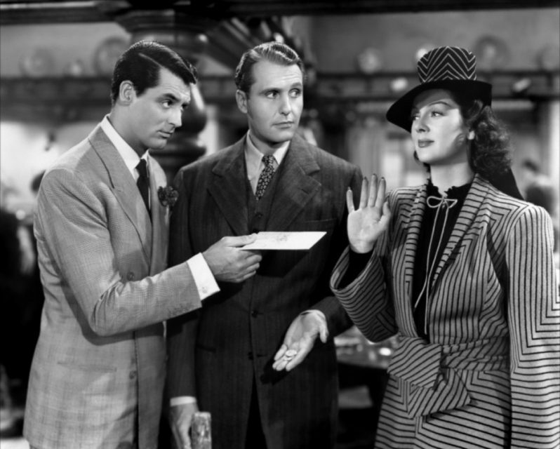With Grant and Rosalind Russell in HIS GIRL FRIDAY.