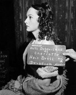 Olivia de Havilland costume test as Charlotte Bronte for Devotion (released 1946)