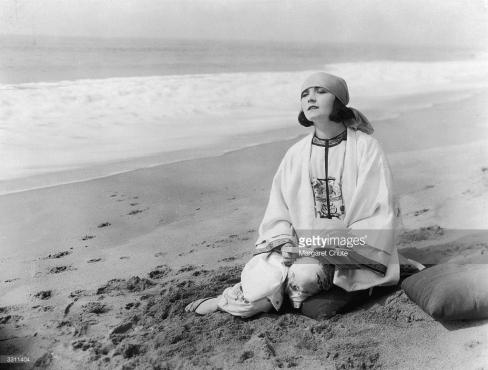 Pola Negri on the beach in Santa Monica