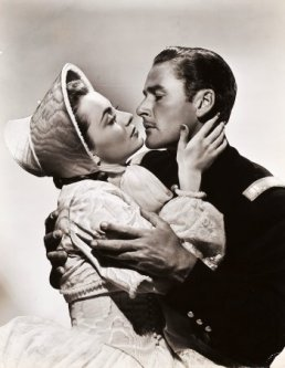 Portrait of Olivia de Havilland and Errol Flynn for Santa Fe Trail