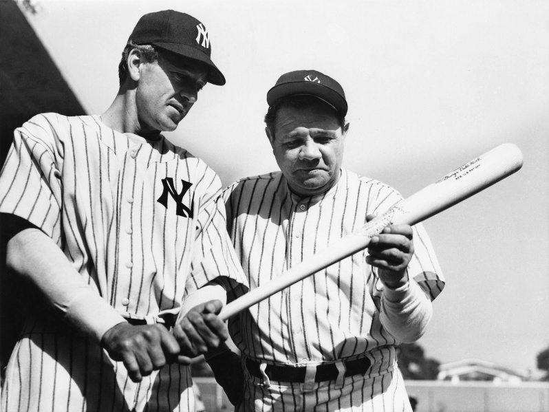 Gary Cooper and Babe Ruth in Sam Wood's THE PRIDE OF THE YANKEES (1942)
