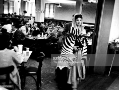 Actress Martha Hyer (R) in the studio commissary dressed for her role in The Big Fisherman.