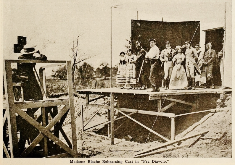 Alice Guy-Blache (at far left) and the cast of Fra Diavolo (Solax, 1912)