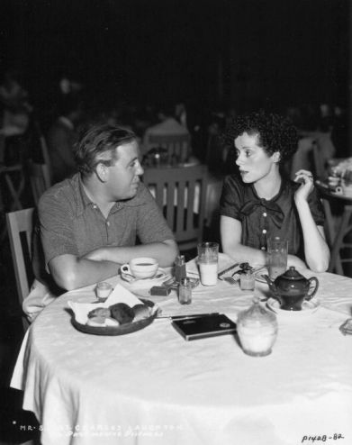 Charles Laughton and Elsa Lanchester at the Paramount Studio Commissary, 1936