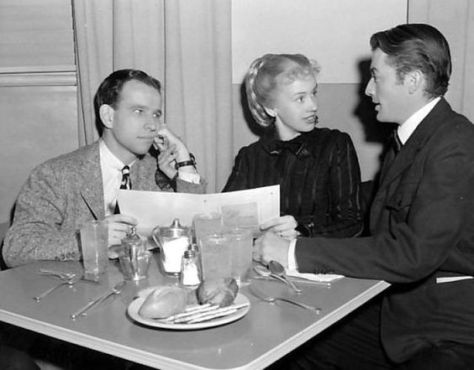 Cronyn, Tandy and Peck at MGM Commissary