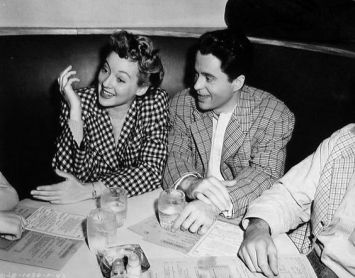 Evelyn Keyes and Larry Parks at the Columbia commissary at the time of The Jolson Story