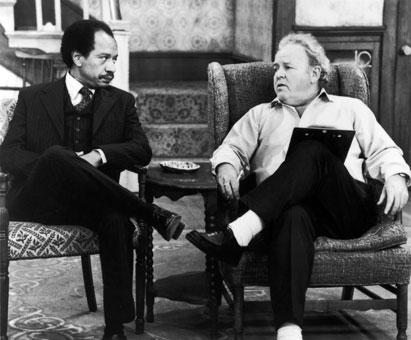 Hemsley as George Jefferson at odds with Carroll O'Connor's Archie Bunker