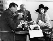 Howard Hawks with Gary Cooper and Marlene Dietrich in the Warner Brothers commissary