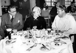 Producer Alexander Korda, Mary Pickford and Charles Laughton at Denham Film Studios Restaurant