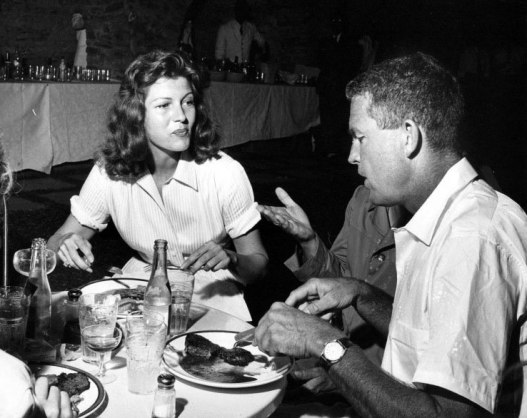 Rita Hayworth and Robert Parrish at the Columbia commissary