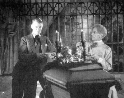 With Ernest Thesiger on set of BRIDE OF FRANKENSTEIN
