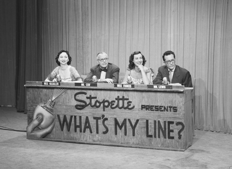 NEW YORK - AUGUST 5: Panelists of the game show, What's My Line. From left, Dorothy Kilgallen, Bennett Cerf, Arlene Francis and Robert Q. Lewis. Image dated August 5, 1951. (Photo by CBS via Getty Images) *** Local Caption *** Bennett Cerf;Dorothy Kilgallen;Arlene Francis;Robert Q. Lewis
